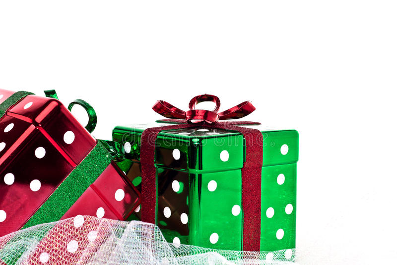 Duas caixas de presente quadradas glittery do Natal fotos de stock