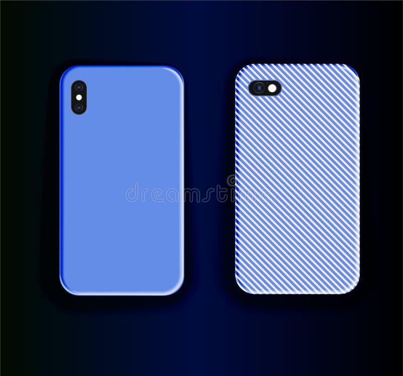 Duas caixas de smartphone azuis Design de impressão padrão de tendência estilizado Vetor tire a tampa do smartphone ilustração stock