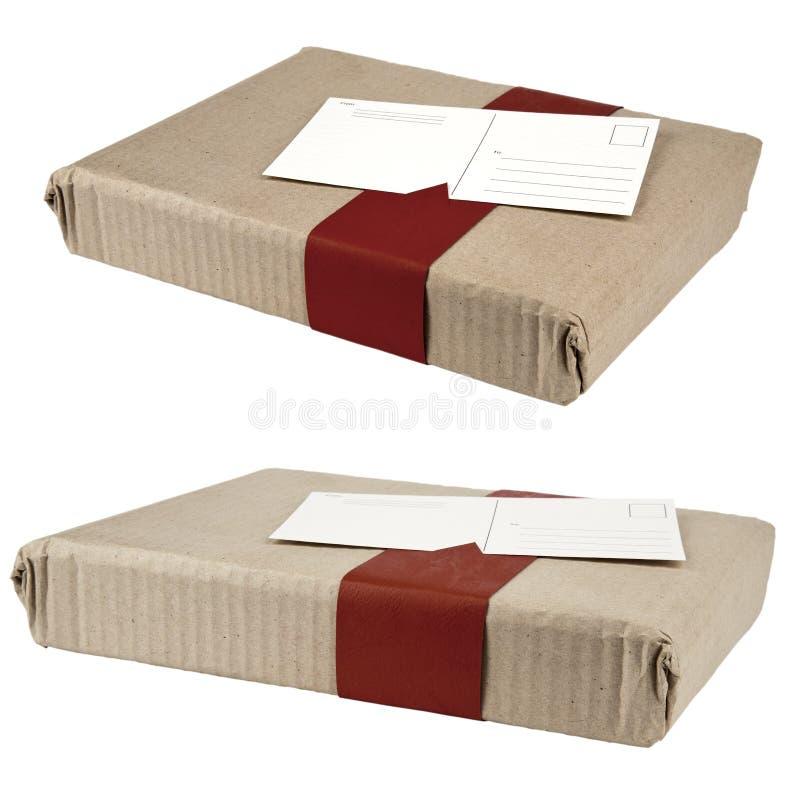 Duas caixas envolvidas e cartão anexado fotografia de stock