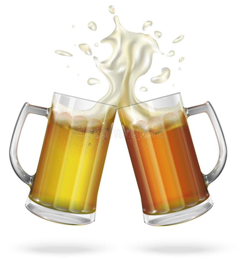 Duas canecas com cerveja inglesa, luz ou cerveja escura Caneca com cerveja ilustração royalty free