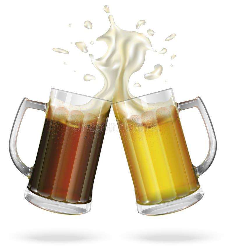 Duas canecas com cerveja inglesa, luz ou cerveja escura Caneca com cerveja Vetor ilustração do vetor