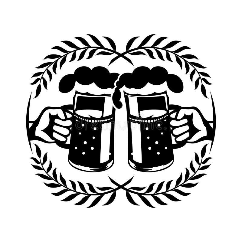 Duas canecas com cerveja nas mãos ilustração do vetor