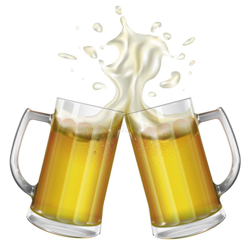 Duas canecas com uma cerveja clara Caneca com cerveja Vetor ilustração stock
