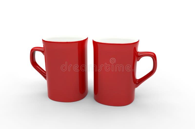 Duas canecas de café vermelhas ilustração stock
