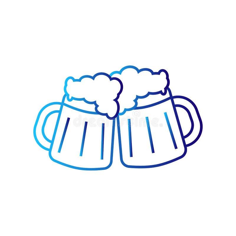 Duas canecas de cerveja ilustração stock
