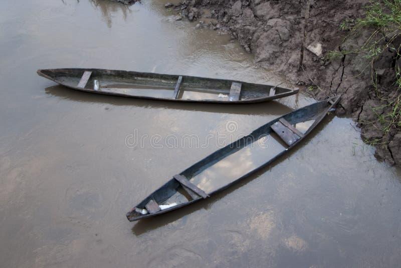 Duas canoas de madeira tradicionais no por do sol na bacia do Rio Amazonas com floresta úmida tropical, Iquitos imagens de stock