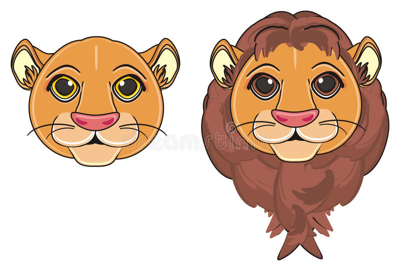 Duas caras de gatos selvagens ilustração stock