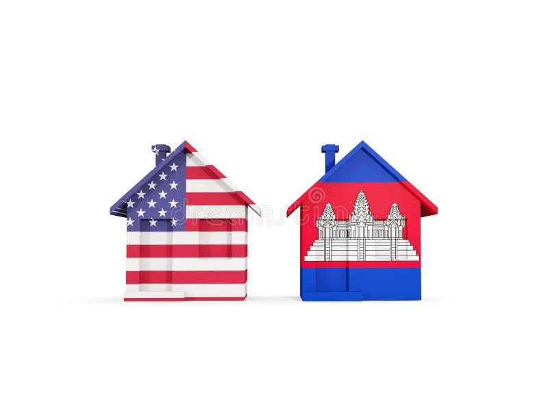 Duas casas com as bandeiras do Estados Unidos e do cambodia ilustração do vetor