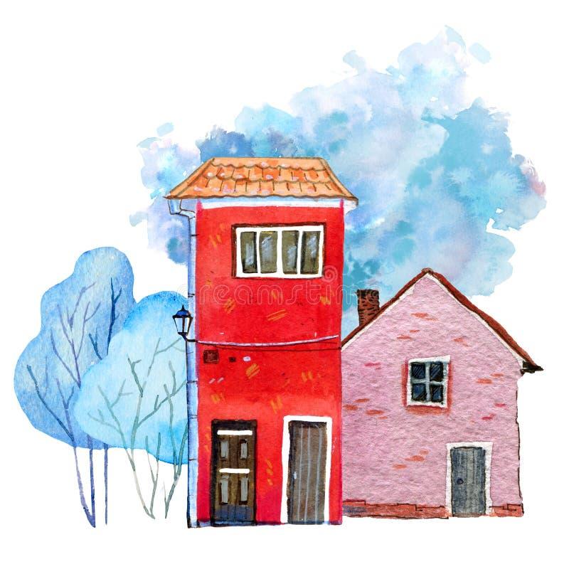 Duas casas de pedra retros com árvores do inverno e ponto da cor no fundo Ilustração tirada mão da aquarela do cartooon ilustração do vetor