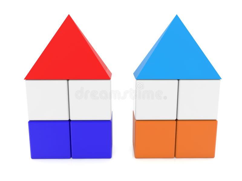 Duas casas do cubo com telhados ilustração do vetor
