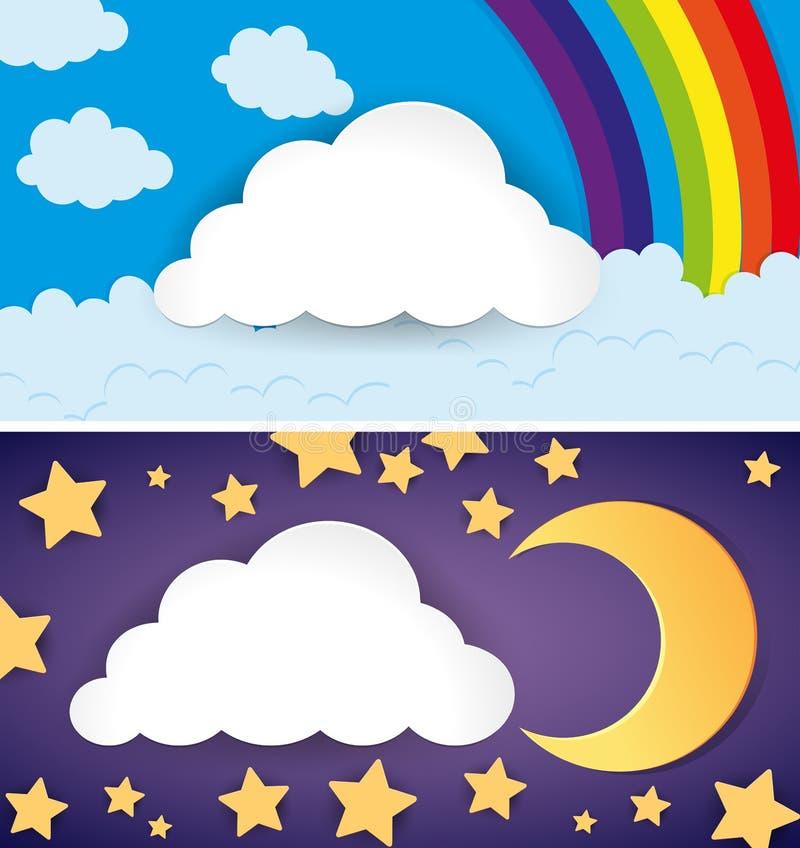 Duas cenas de dia e noite ilustração stock