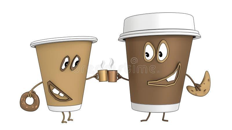 Duas chávenas de café Os desenhos animados 3D rendem ilustração royalty free