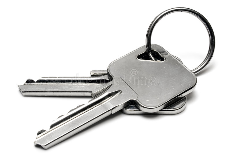 Duas chaves do apartamento com anel imagem de stock royalty free
