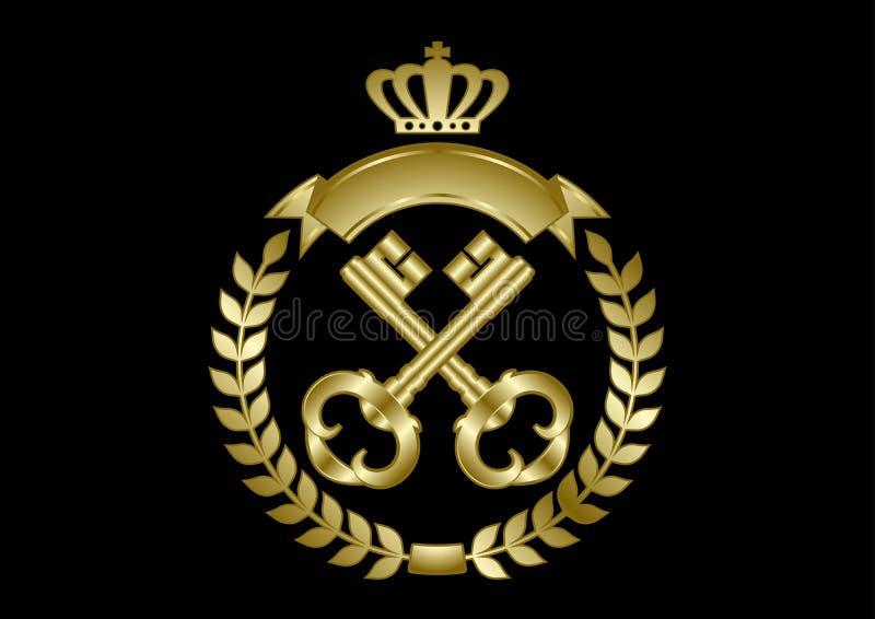 Duas chaves douradas quadro com uma grinalda do louro ilustração stock