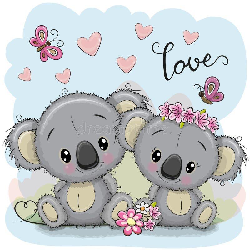 Duas coalas em um fundo azul ilustração royalty free