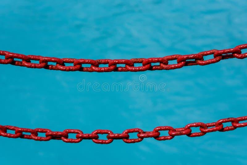 Duas correntes pintadas vermelhas como uma barreira à queda no oceano azul do derretimento glacial, como um fundo imagem de stock royalty free