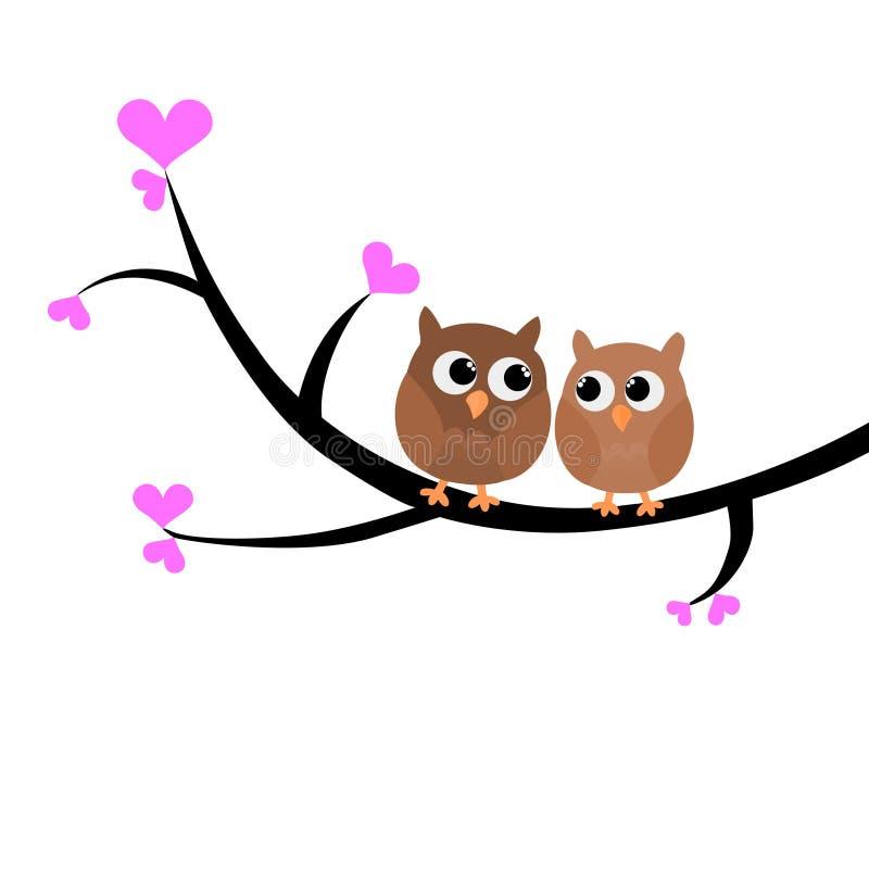 Duas corujas bonitas coloridas que sentam-se em uma árvore vector a ilustração ilustração do vetor
