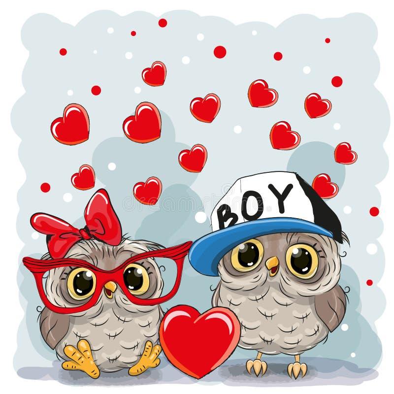 Duas corujas bonitos ilustração stock