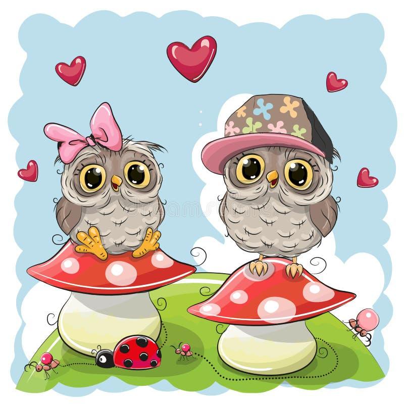 Duas corujas bonitos dos desenhos animados em cogumelos ilustração do vetor