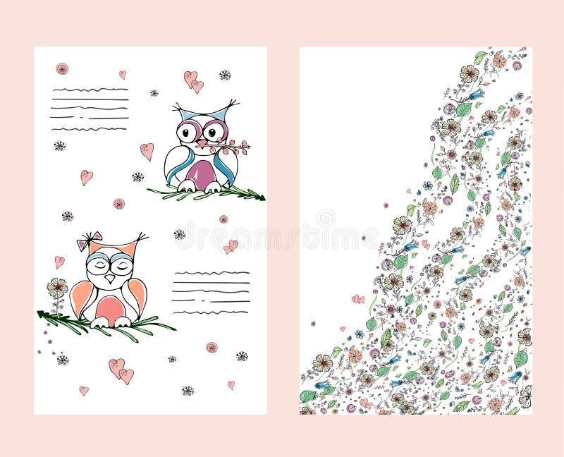 Duas corujas bonitos no envoltório Ilustração do vetor ilustração stock