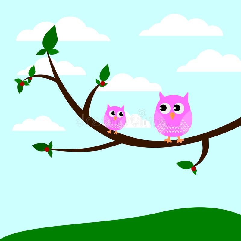 Duas corujas bonitos que sentam-se em uma árvore vector a ilustração ilustração do vetor
