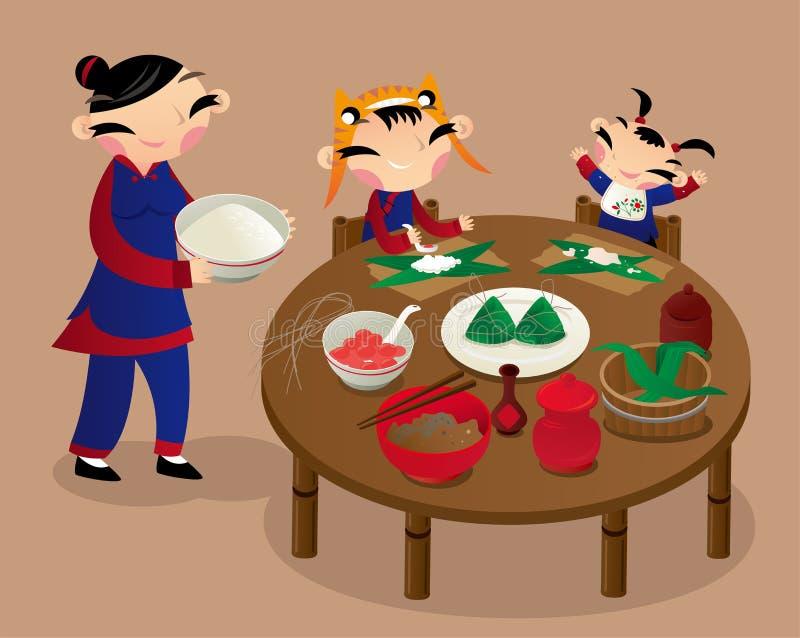 Duas crianças ajudam sua mãe que faz bolinhas de massa do arroz ilustração royalty free