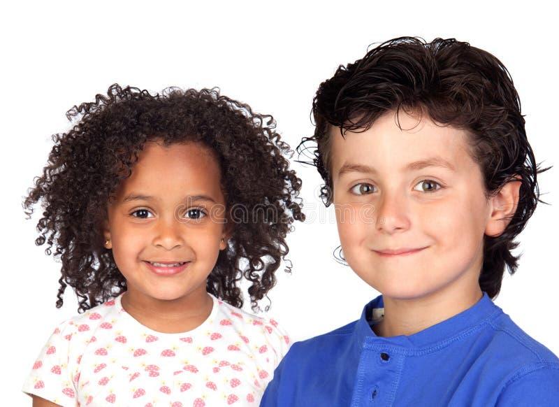 Duas crianças bonitas fotografia de stock royalty free