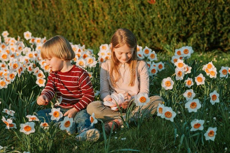 Duas crianças bonitos, rapaz pequeno e sua irmã mais velha, jogando no parque imagem de stock royalty free