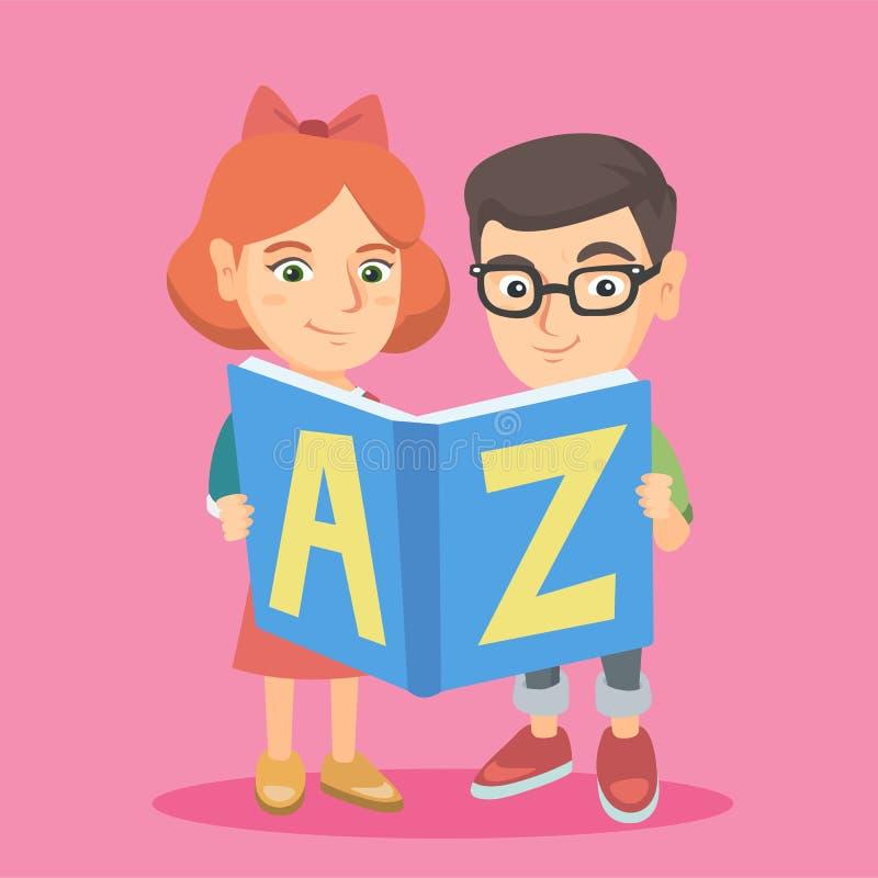 Duas crianças caucasianos que estudam com um ABC-livro ilustração stock
