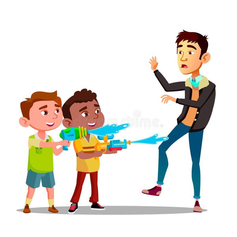 Duas crianças da intimidação que espirram no homem da ilustração lisa dos desenhos animados do vetor das pistolas de água ilustração stock