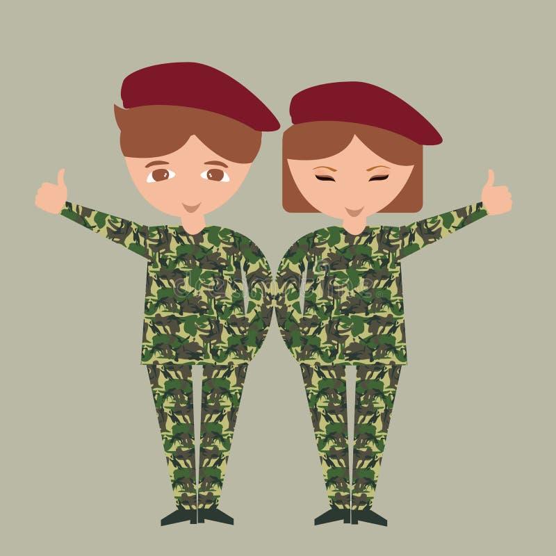 Duas crianças das crianças que vestem o exército do uniforme militar camuflam o traje patriótico com chapéu ilustração royalty free