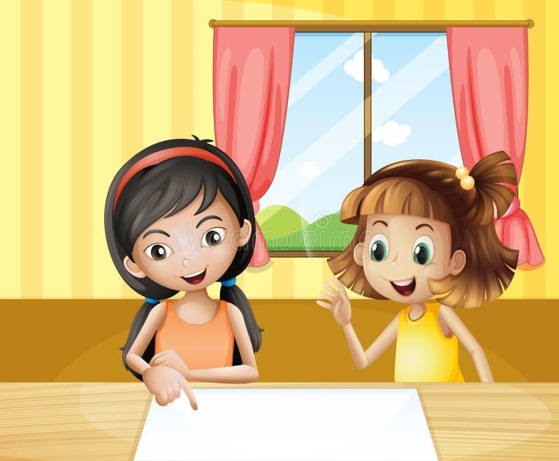 Duas crianças dentro da casa que olham o signage vazio ilustração stock