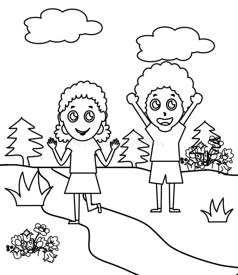 Duas crianças encaracolado que colorem a página ilustração stock