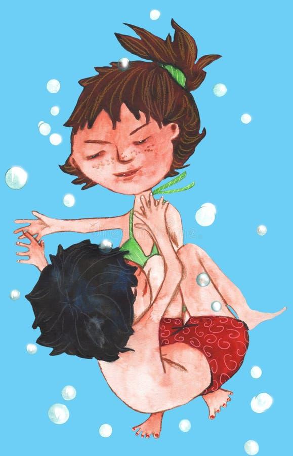Duas crianças na água imagem de stock