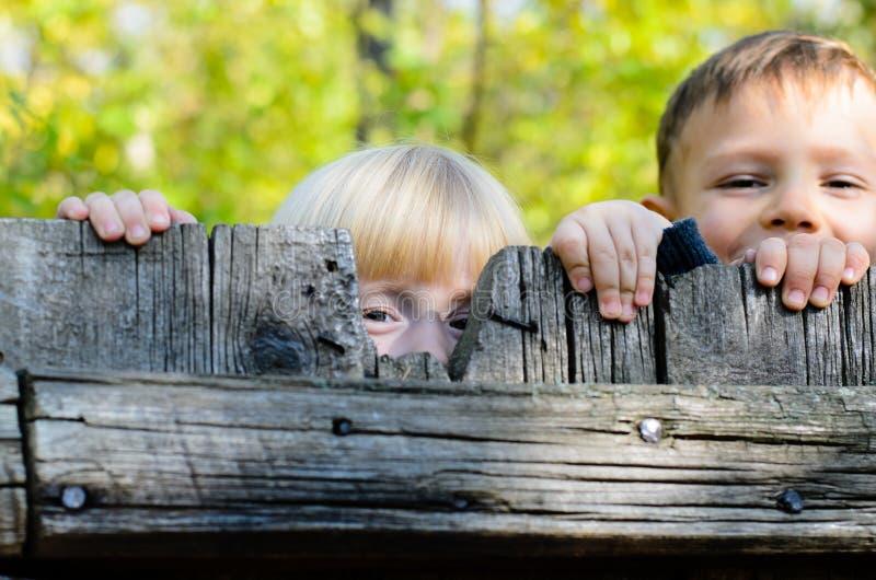 Duas crianças que espreitam sobre uma cerca de madeira imagens de stock royalty free