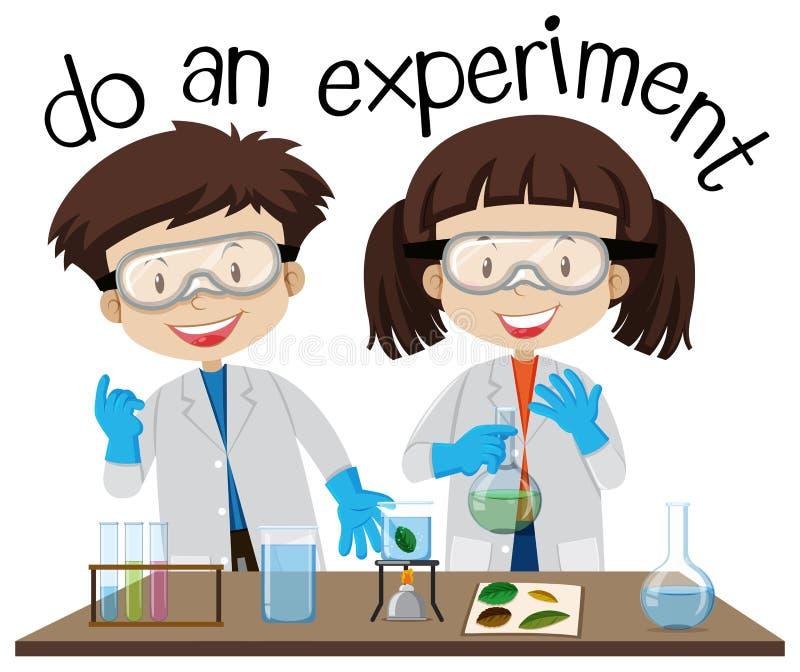 Duas crianças que fazem a experiência no laboratório de ciência ilustração stock