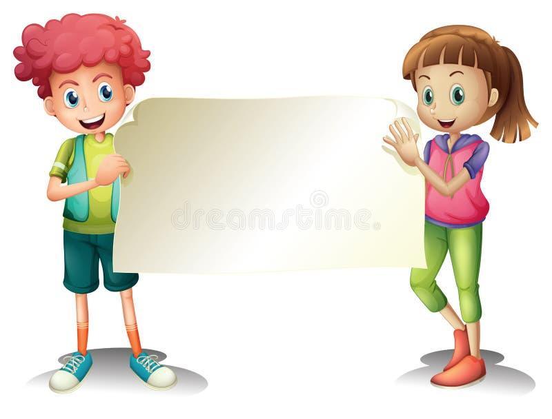 Duas crianças que guardam um signage vazio ilustração royalty free