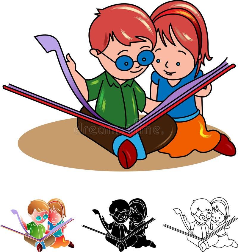 Duas crianças que leem um livro ilustração do vetor