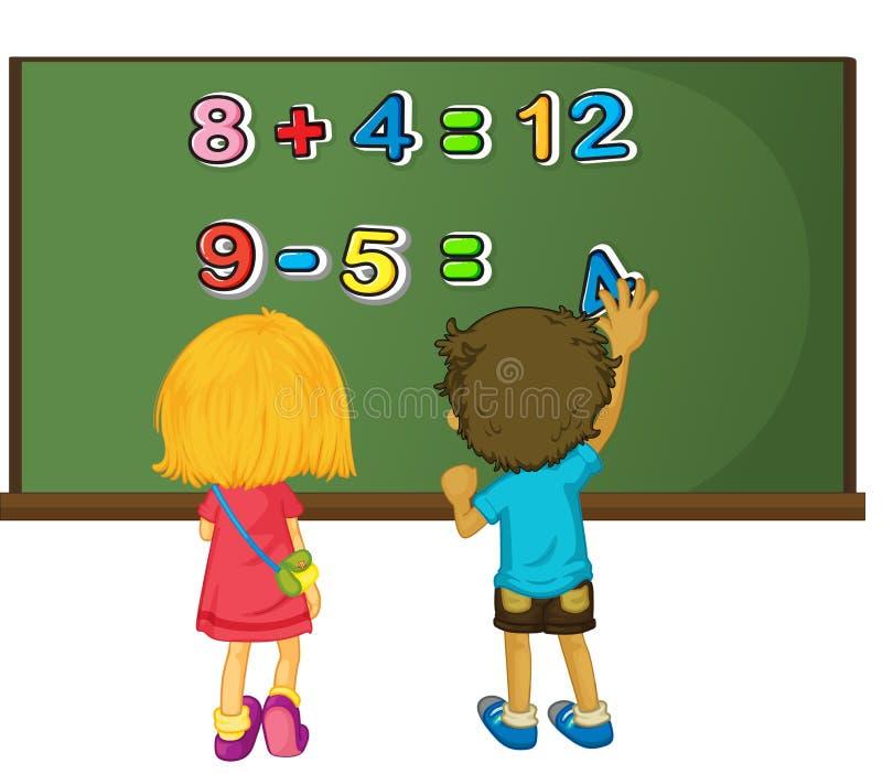 Duas crianças que resolvem o problema de matemática a bordo ilustração do vetor