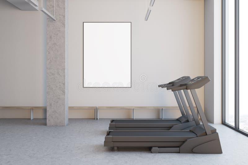 Duas escadas rolantes em uma sala branca, fim acima do lado ilustração do vetor
