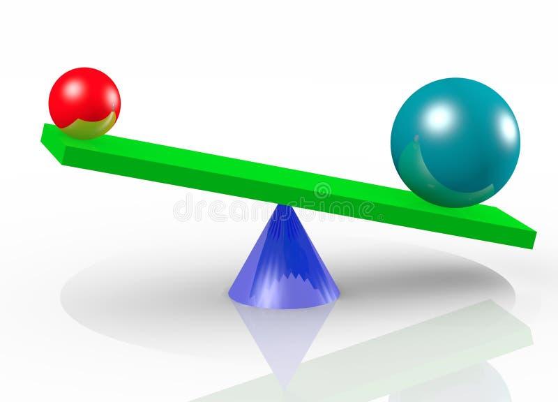 Duas esferas da cor, no balanço ilustração royalty free
