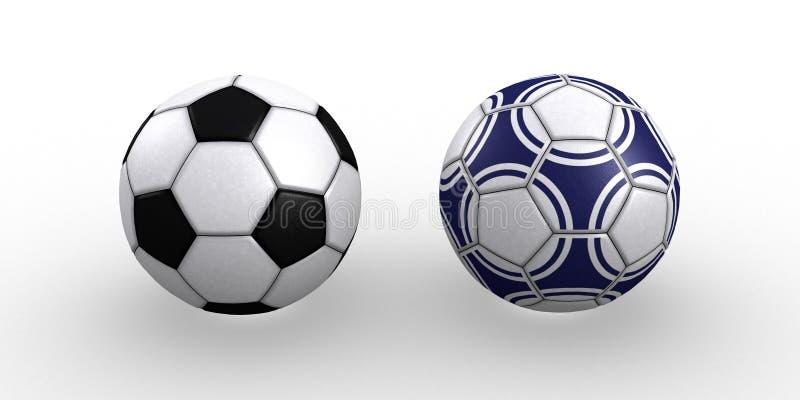 Duas esferas de futebol fotografia de stock royalty free
