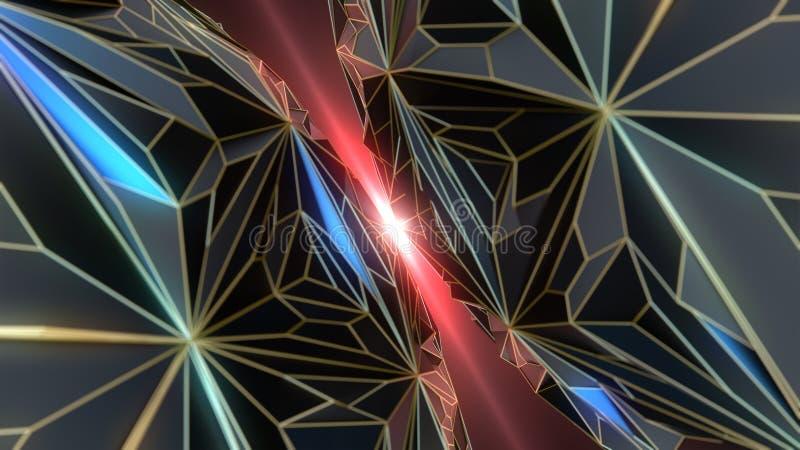 Duas esferas escuras da reflexão com baixa colisão poli da grade do ouro rendição 3d ilustração do vetor