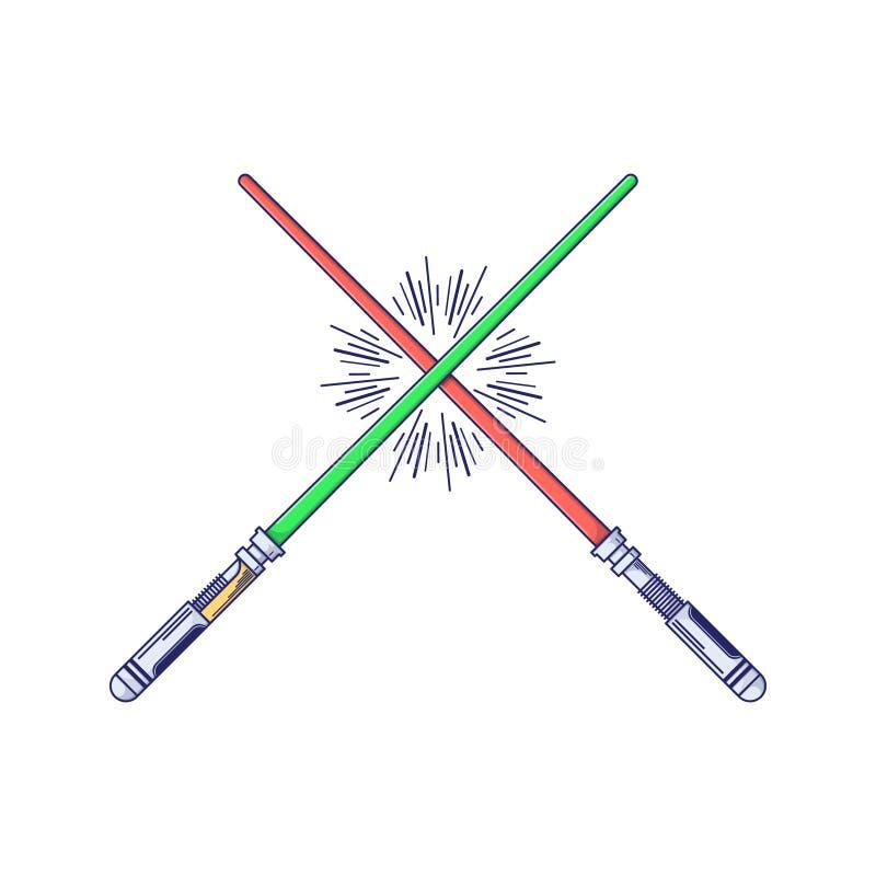 Duas espadas brancas no fundo preto Ícone do robô do brinquedo no estilo fino do esboço Graphhics do vetor ilustração do vetor