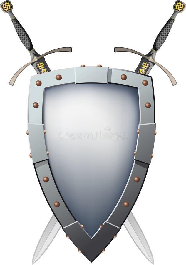 Duas Espadas Cruzadas Que São Atrás Do Protetor Foto de Stock