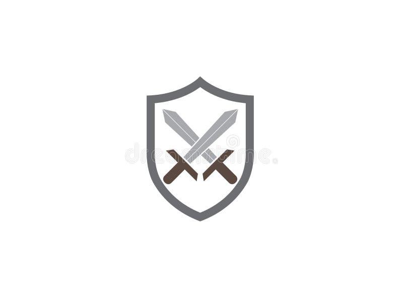 Duas espadas dentro do protetor para a ilustração do projeto do logotipo, símbolo da segurança, ícone das ferramentas do guerreir ilustração stock