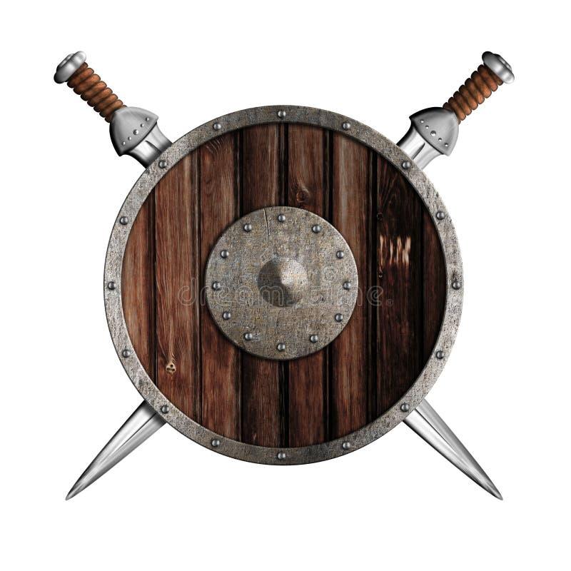 Duas espadas do cavaleiro e protetor redondo de madeira isolados ilustração stock