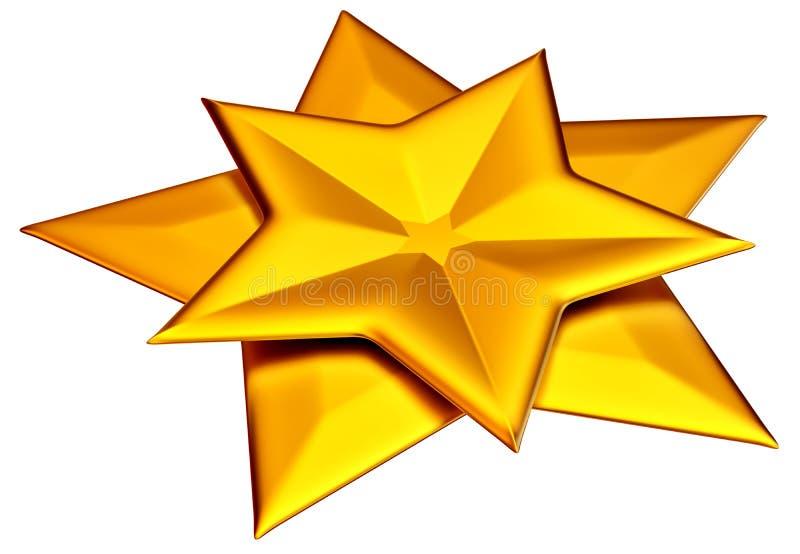 Duas estrelas brilhantes do ouro ilustração stock