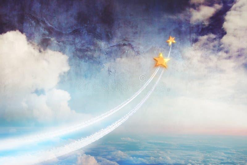 Duas estrelas que voam acima das nuvens, acima no espaço Sonho junto, relacionamentos e sonhos, uma imagem conceptual foto de stock royalty free