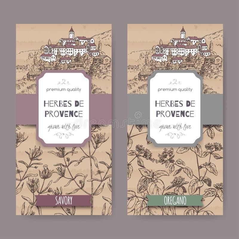 Duas etiquetas de Herbes de Provence com cidade, segurelha e oréganos ilustração do vetor